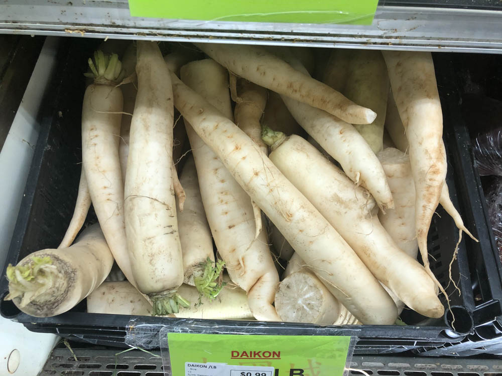 daikon at asian grocery store